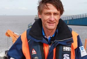 Jörg Osterwald auf einem Saugbagger vor Cuxhaven. Er ist bei der Wasser- und Schifffahrtsverwaltung des Bundes für die Fahrrinnenanpassung zuständig