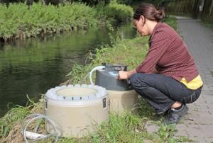 Irene Wittmer von der EAWAG nimmt eine Wasserprobe
