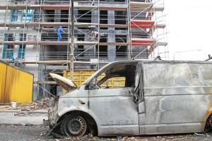 Im Mai 2012 brannten Polystyrolplatten in Frankfurt am Main.